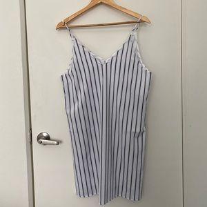 Never worn white and navy blue striped slip dress